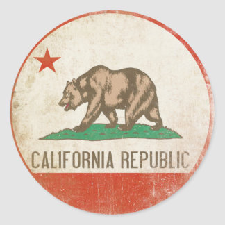 動揺してなカリフォルニア共和国の旗が付いているステッカー ラウンドシール