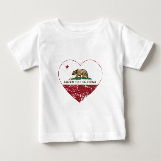 動揺してなカリフォルニア旗のアナハイムの丘のハート ベビーTシャツ