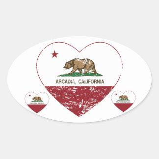 動揺してなカリフォルニア旗のアルカディアのハート 楕円形シール