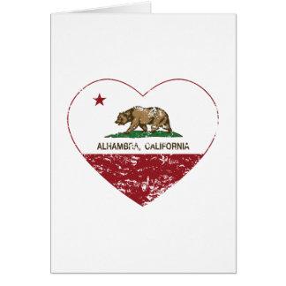動揺してなカリフォルニア旗のアルハンブラのハート カード