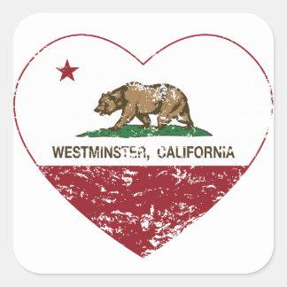 動揺してなカリフォルニア旗のウエストミンスターのハート スクエアシール