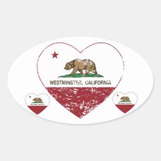 動揺してなカリフォルニア旗のウエストミンスターのハート 楕円形シール