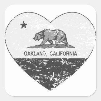 動揺してなカリフォルニア旗のオークランドの黒いハート スクエアシール