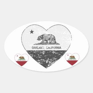 動揺してなカリフォルニア旗のオークランドの黒いハート 楕円形シール