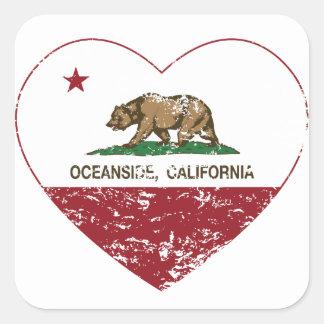 動揺してなカリフォルニア旗のオーシャンサイドのハート スクエアシール