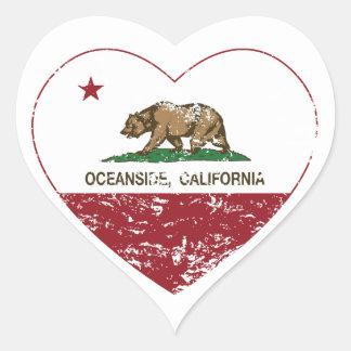動揺してなカリフォルニア旗のオーシャンサイドのハート ハートシール