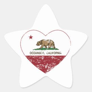 動揺してなカリフォルニア旗のオーシャンサイドのハート 星シール