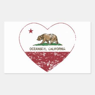 動揺してなカリフォルニア旗のオーシャンサイドのハート 長方形シール