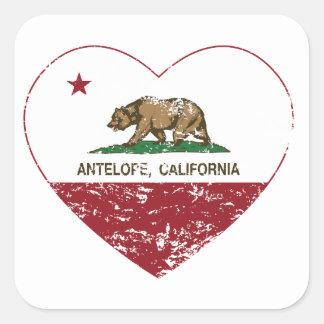 動揺してなカリフォルニア旗のカモシカのハート スクエアシール