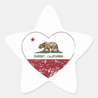 動揺してなカリフォルニア旗のカーディフのハート 星シール