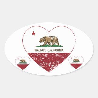動揺してなカリフォルニア旗のクルミのハート 楕円形シール