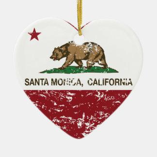 動揺してなカリフォルニア旗のサンタモニカのハート セラミックオーナメント