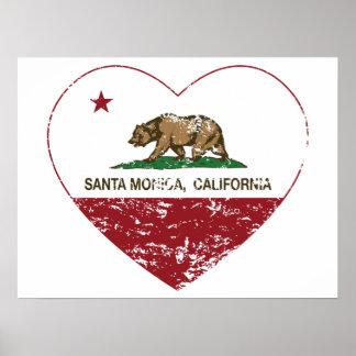 動揺してなカリフォルニア旗のサンタモニカのハート ポスター