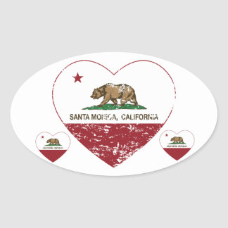 動揺してなカリフォルニア旗のサンタモニカのハート 楕円形シール