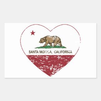 動揺してなカリフォルニア旗のサンタモニカのハート 長方形シール