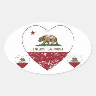 動揺してなカリフォルニア旗のサンノゼのハート 楕円形シール