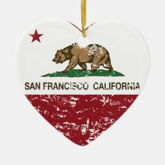 動揺してなカリフォルニア旗のサンフランシスコのハート セラミックオーナメント