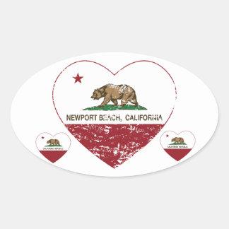 動揺してなカリフォルニア旗のニューポートビーチのハート 楕円形シール