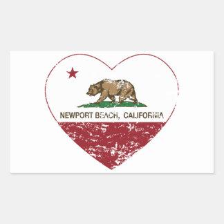 動揺してなカリフォルニア旗のニューポートビーチのハート 長方形シール
