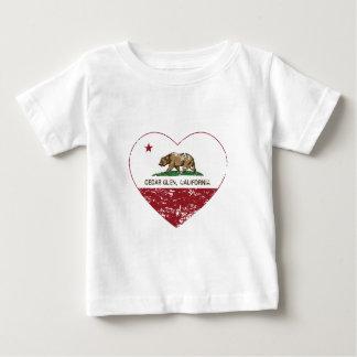 動揺してなカリフォルニア旗のヒマラヤスギの谷間のハート ベビーTシャツ