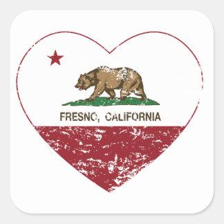 動揺してなカリフォルニア旗のフレズノのハート スクエアシール