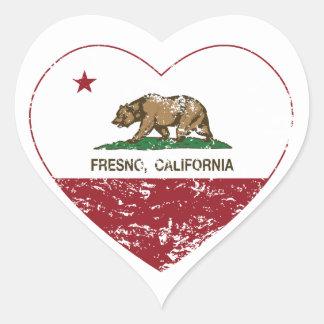 動揺してなカリフォルニア旗のフレズノのハート ハートシール