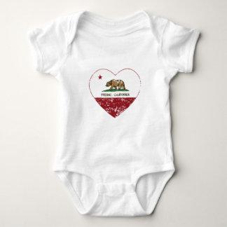 動揺してなカリフォルニア旗のフレズノのハート ベビーボディスーツ