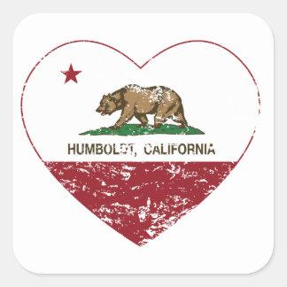 動揺してなカリフォルニア旗のフンボルトのハート スクエアシール