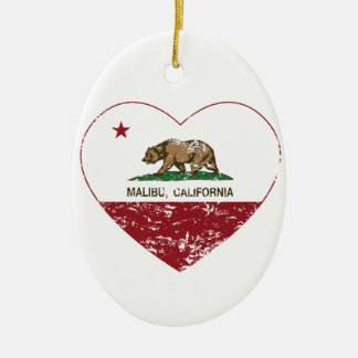 動揺してなカリフォルニア旗のマリブのハート セラミックオーナメント