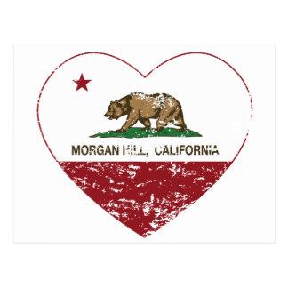 動揺してなカリフォルニア旗のモーガンの丘のハート ポストカード