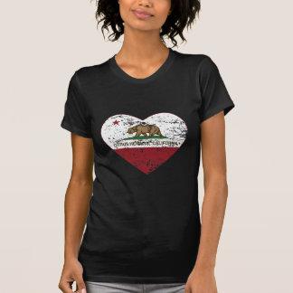 動揺してなカリフォルニア旗の柑橘類の高さのハート Tシャツ