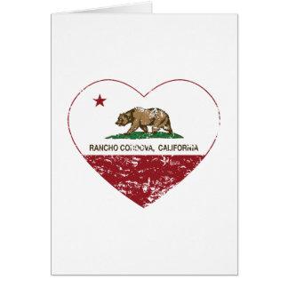 動揺してなカリフォルニア旗の牧場労働者の小屋のcordovaのハート カード