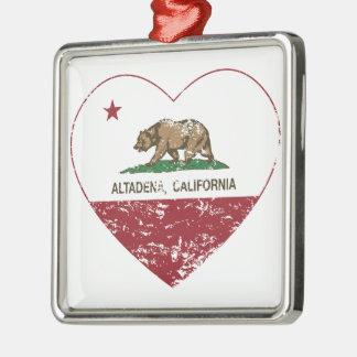 動揺してなカリフォルニア旗のaltadenaのハート メタルオーナメント
