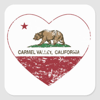 動揺してなカリフォルニア旗のcarmelの谷のハート 正方形シール・ステッカー