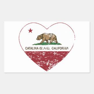 動揺してなカリフォルニア旗のcatalinaの島のハート 長方形シール