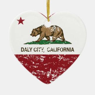動揺してなカリフォルニア旗のDaly Cityのハート セラミックオーナメント