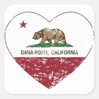 動揺してなカリフォルニア旗のDana Pointのハート スクエアシール
