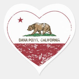 動揺してなカリフォルニア旗のDana Pointのハート ハート形シール・ステッカー