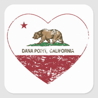 動揺してなカリフォルニア旗のDana Pointのハート 正方形シール・ステッカー