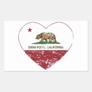 動揺してなカリフォルニア旗のDana Pointのハート 長方形シール
