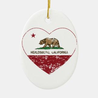 動揺してなカリフォルニア旗のhealdsburgのハート セラミックオーナメント