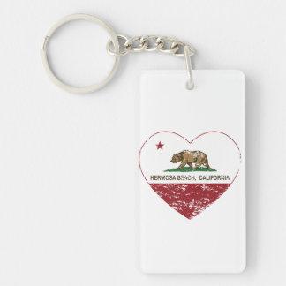 動揺してなカリフォルニア旗のhermosaのビーチのハート キーホルダー