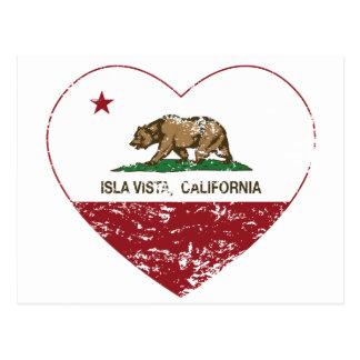 動揺してなカリフォルニア旗のislaの眺望のハート ポストカード