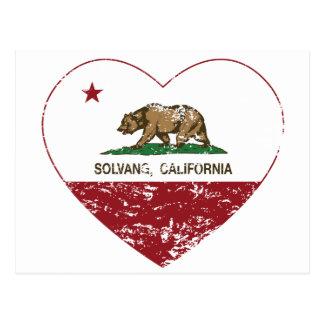 動揺してなカリフォルニア旗のsolvangのハート ポストカード