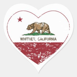 動揺してなカリフォルニア旗のwhittierハート ハートシール