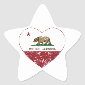 動揺してなカリフォルニア旗のwhittierハート 星シール