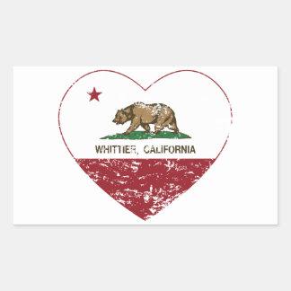 動揺してなカリフォルニア旗のwhittierハート 長方形シール