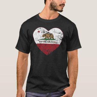 動揺してなカリフォルニア旗のwhittierハート tシャツ