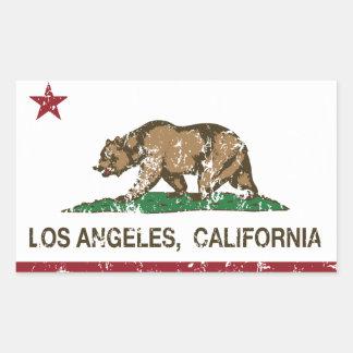 動揺してなカリフォルニア旗ロスアンジェルス 長方形シールステッカー