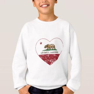動揺してなカリフォルニア旗losのgatosのハート スウェットシャツ